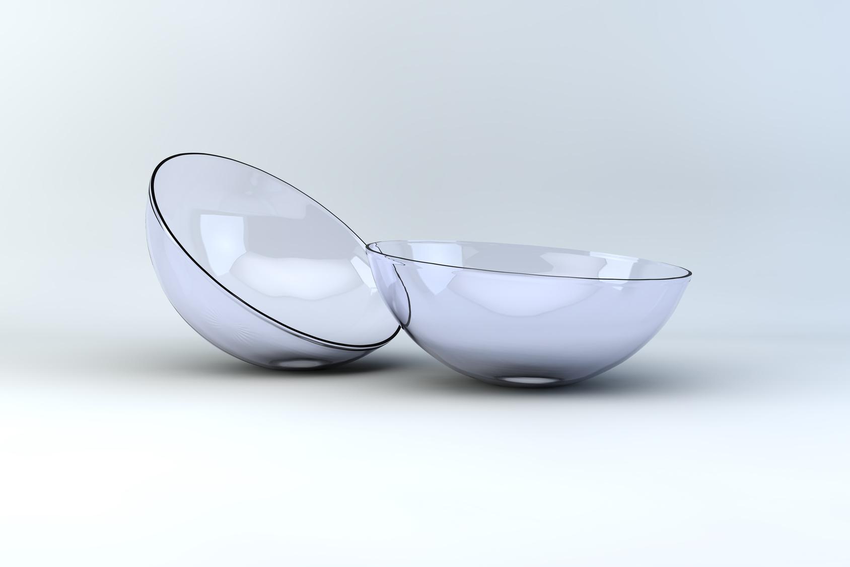 studio 3d render of contact lenses